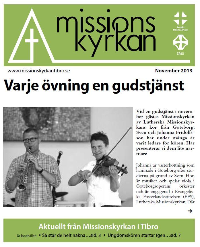 Tidningen Missionskyrkan nov 2013