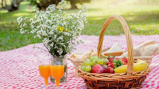 frukt picknick blommor sommar duk park