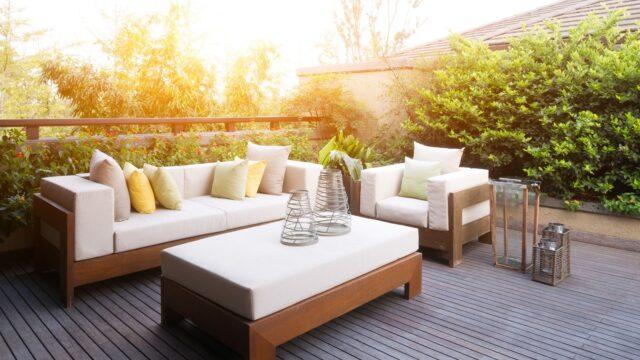altan hemma trädgårdsmöbler soffa