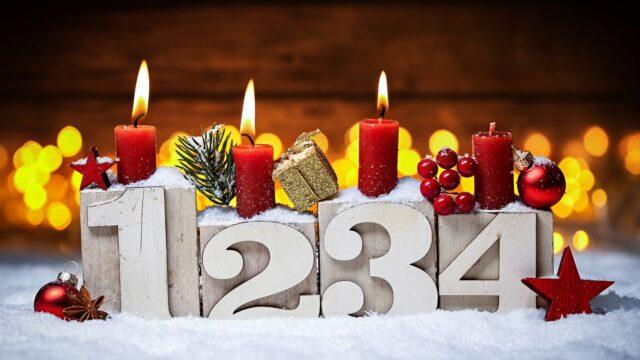 tredje 3 advent ljus snö